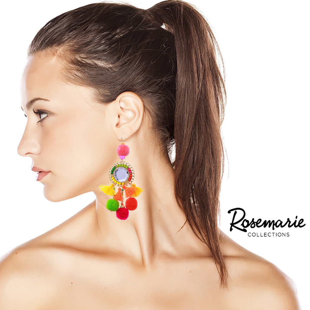 Long Rainbow Pom Pom and Tassel Statement Drop Earrings ( Multi Color)