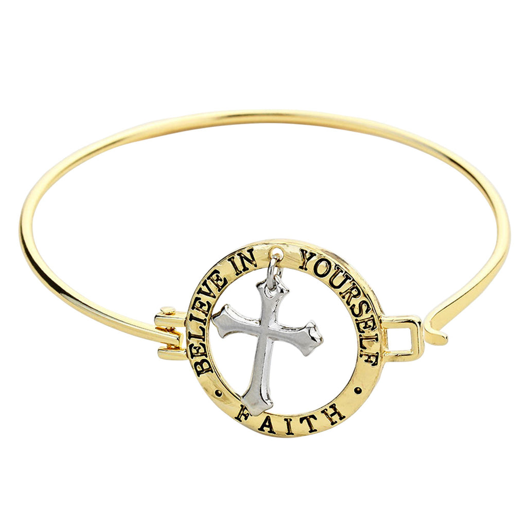 Believe in Yourself Cross Bangle Bracelet Gold Tone