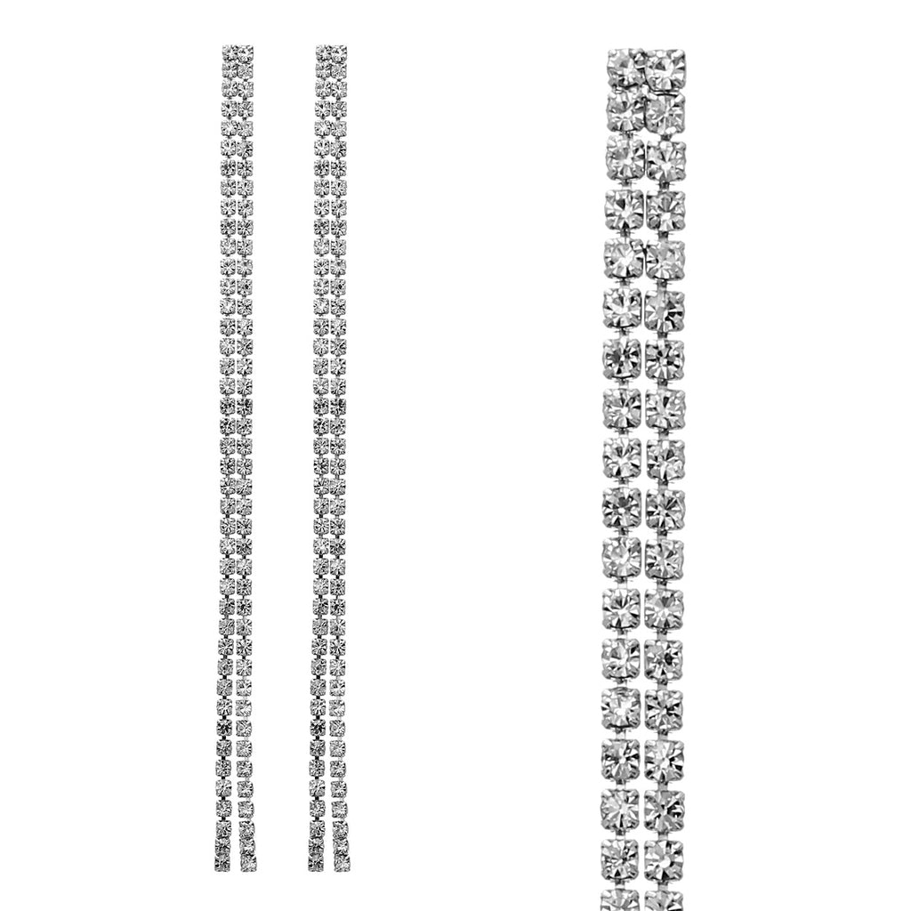 Double Strand Crystal Rhinestone Extra Long Drop Earrings