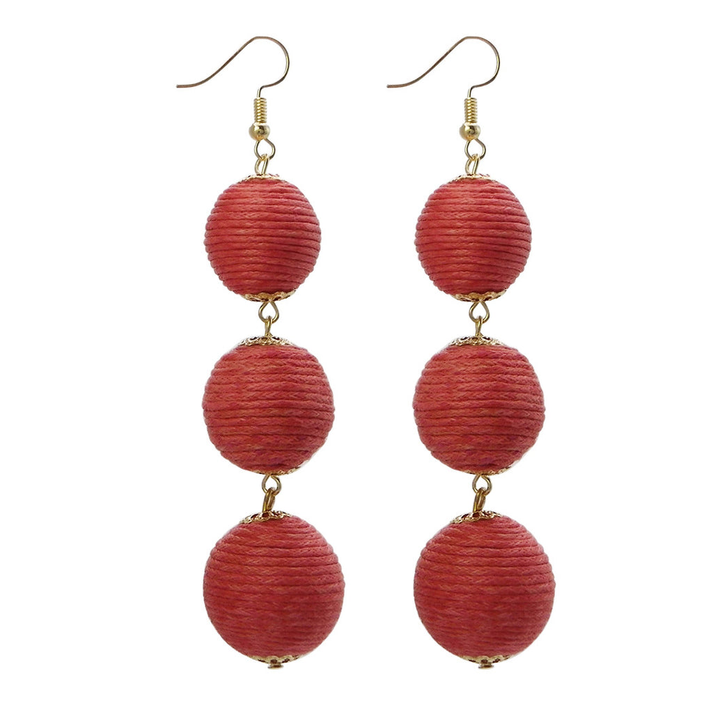 Thread Ball Drop Fashion Earrings (Coral)