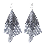 Long Two Tone Chain Mesh Dangle Earrings (Silver)