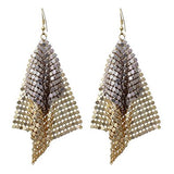 Statement Drop Earrings Two Tone Metal Mesh