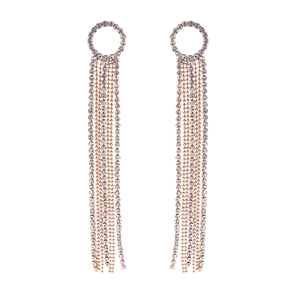 Crystal Rhinestone Circle and Extra Long Fringe Drop Earrings (Gold)