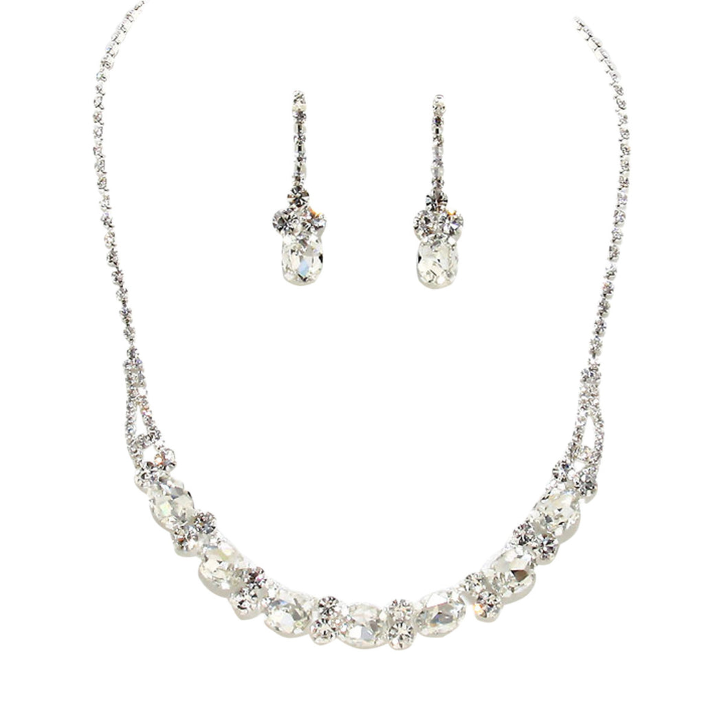 Bridal Rhinestone Collar Necklace Earrings Set Silver Tone