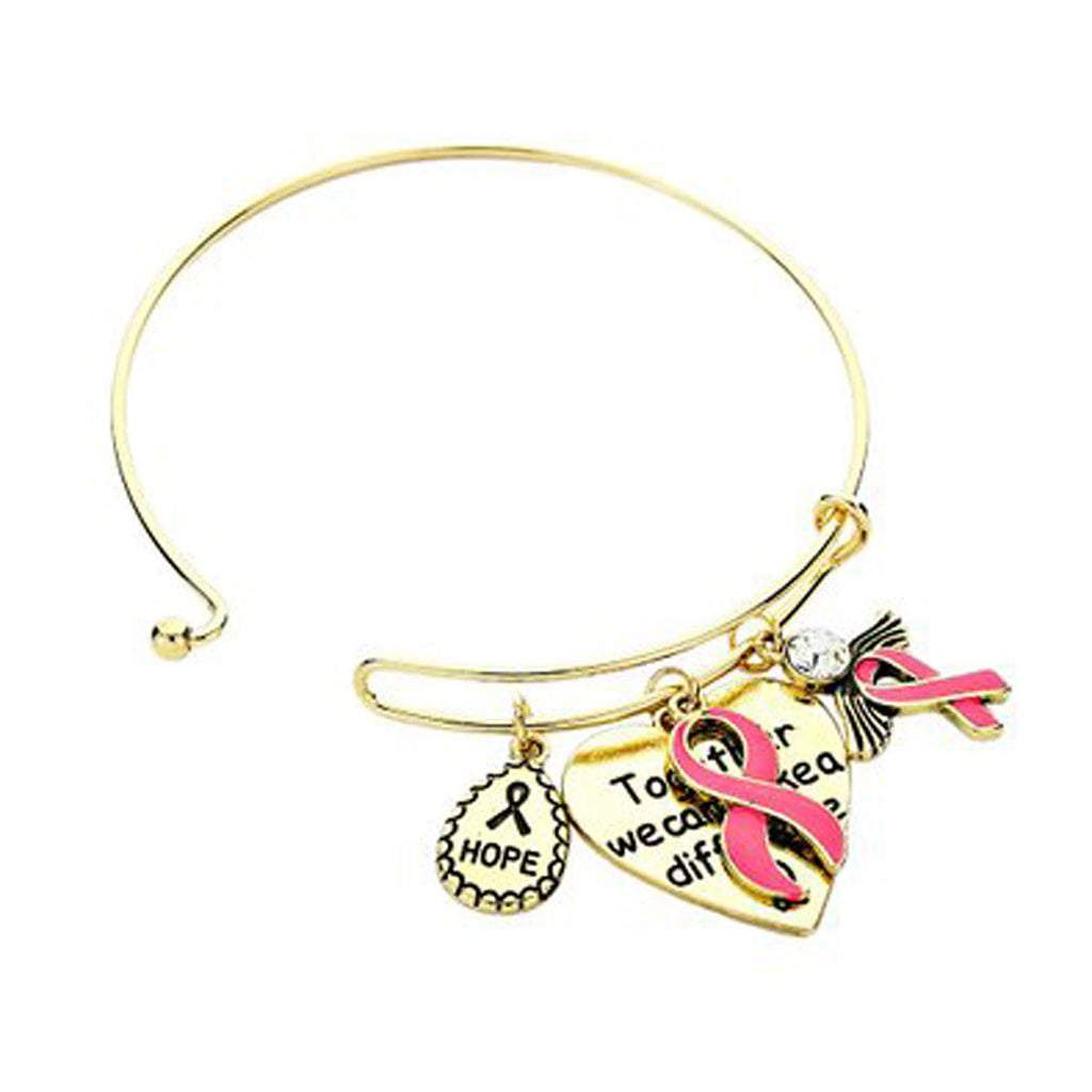 "Pink Ribbon Hope Angel Charm Bangle Bracelet Gold Tone ""Together Make A Difference"""