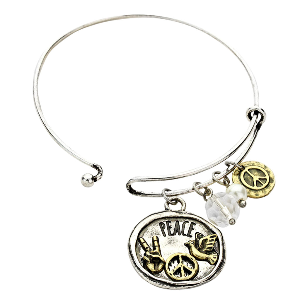 Peace, Love, and Happiness Charm Bangle Bracelet