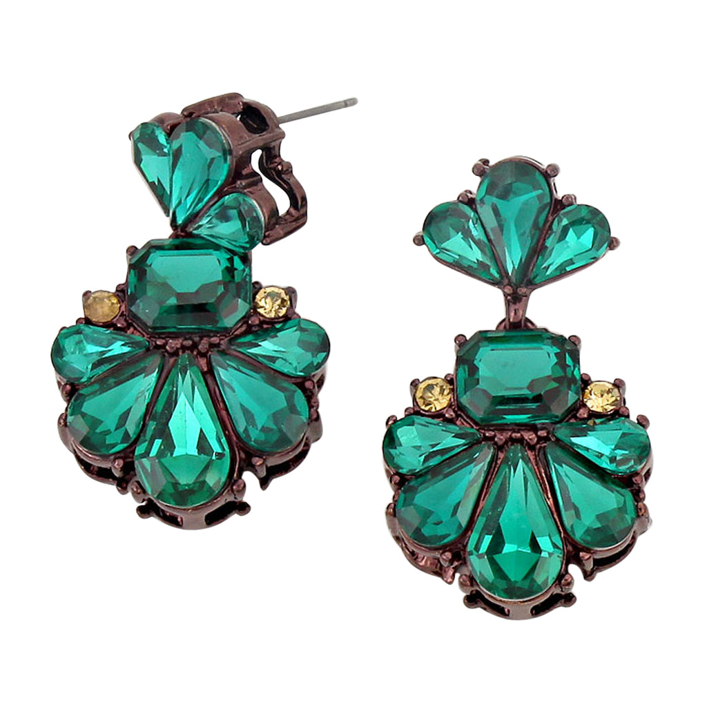 Large Vintage Style Statement Green Classic Crystal Dangle Earrings