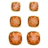 Set of 3 Cushion Cut Crystal Fancy Stud Earrings (Pink)