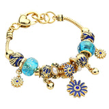 Fun Flower Palm Beach Charm Bracelet Blue Turquoise Color