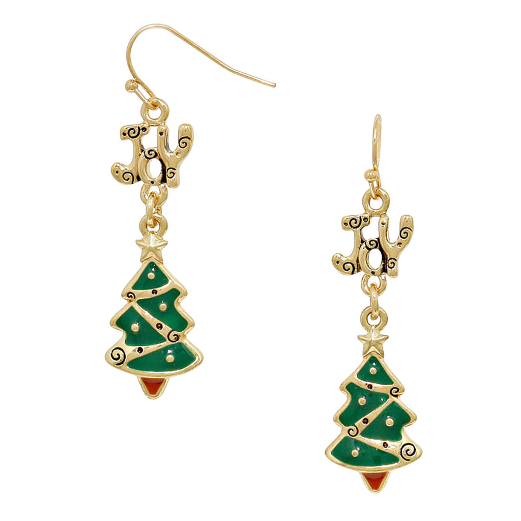 """Joy"" Enamel Tree Dangle Drop Earrings (Gold Color)"