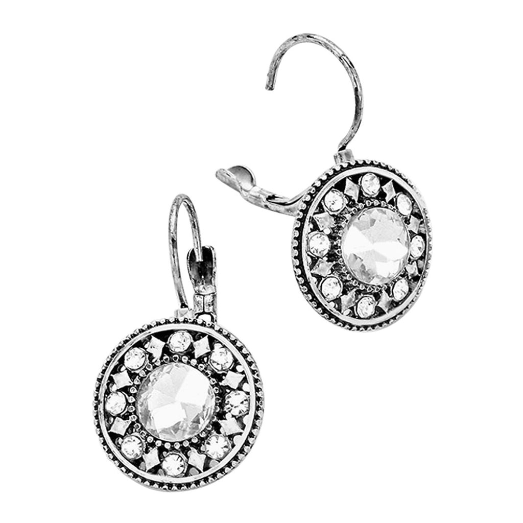 Stunning Fashion Round Crystal Leverback Earrings