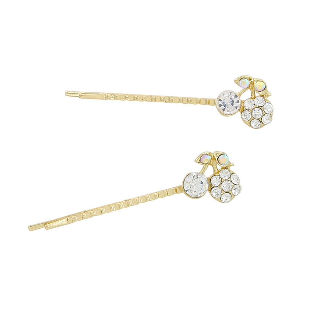 Set of 2 Sparkle Crystal Cherries Hair Clip Pins
