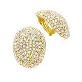 Dazzling Rhinestone Oval Clip On Earrings (Gold Tone)
