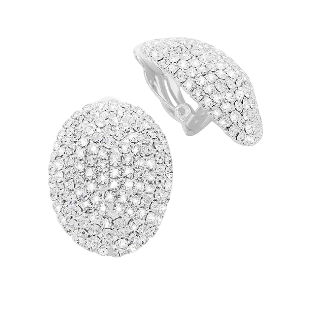 Dazzling Rhinestone Oval Clip On Earrings (Silver Tone)