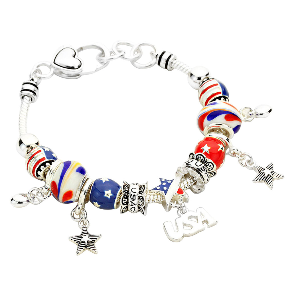 Patriotic USA Beaded Charm Bracelet