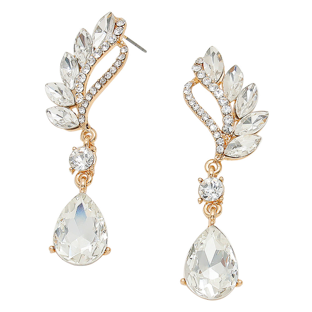 Statement Evening Earrings Crystal Rhinestone Teardrop (White)