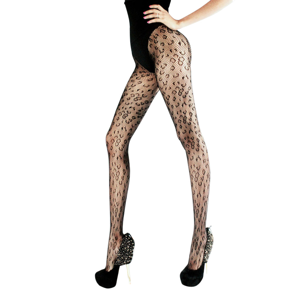 Leopard Print Stockings Fishnet Tights
