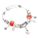 I Love Mom Pink and Red Beaded Charm Bracelet