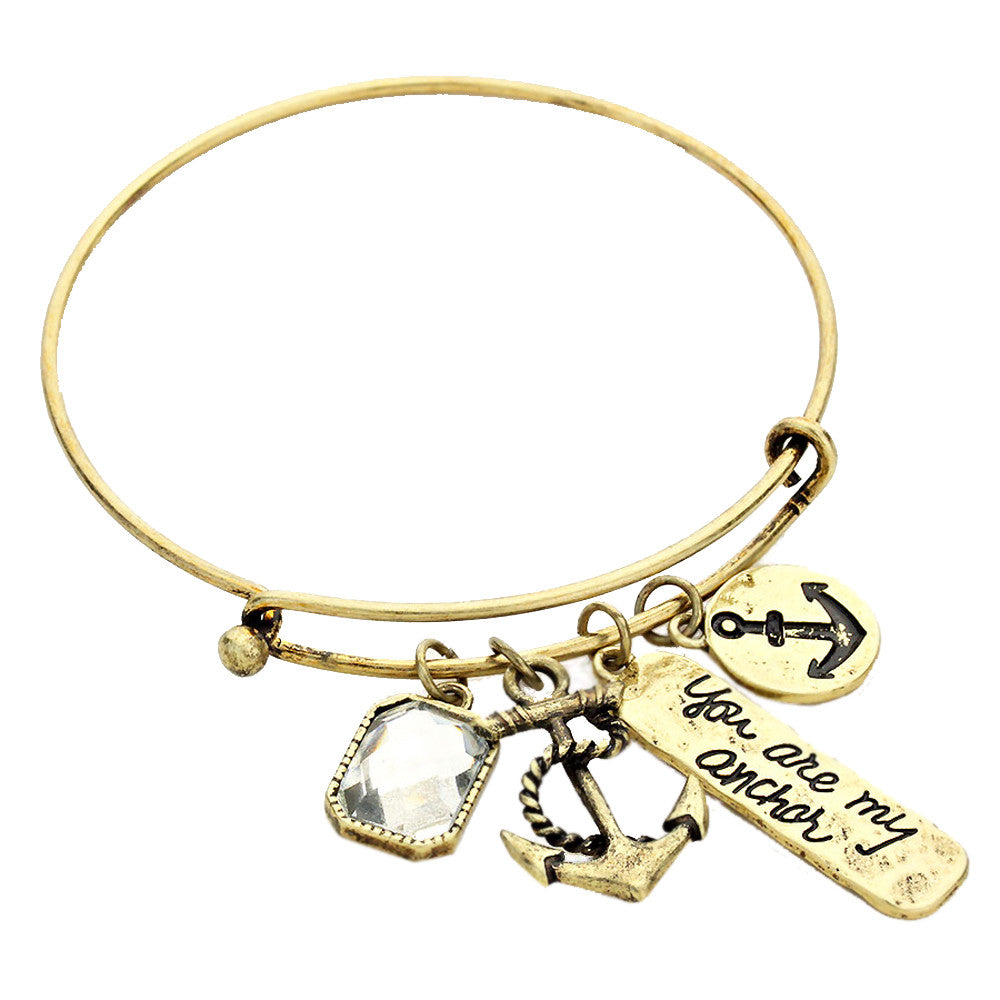 You Are My Anchor Gold Tone Charm Bangle Bracelet