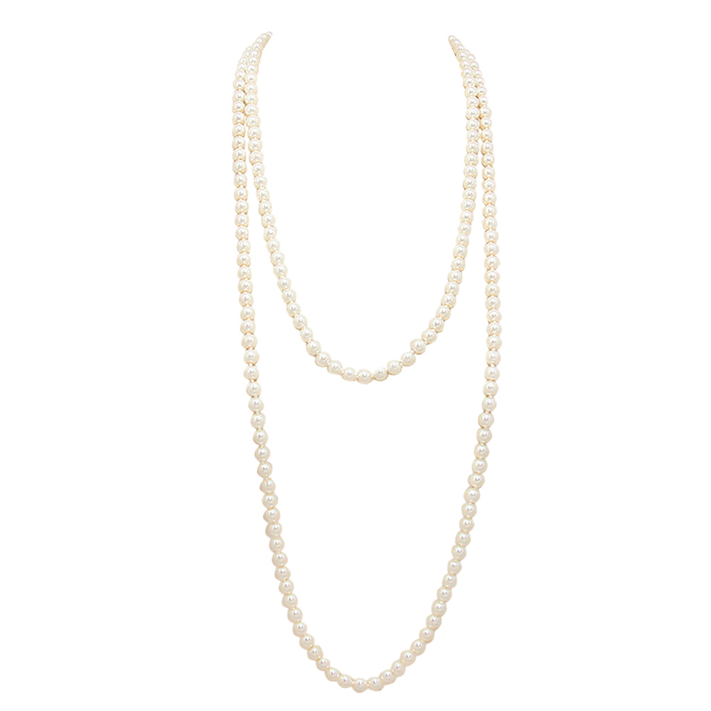 Classic Cream Knotted Simulated Pearl Strand June Birthstone Necklace(74 inches/XLong)