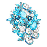 Aqua Blue Crystal Flower Statement Brooch Pin
