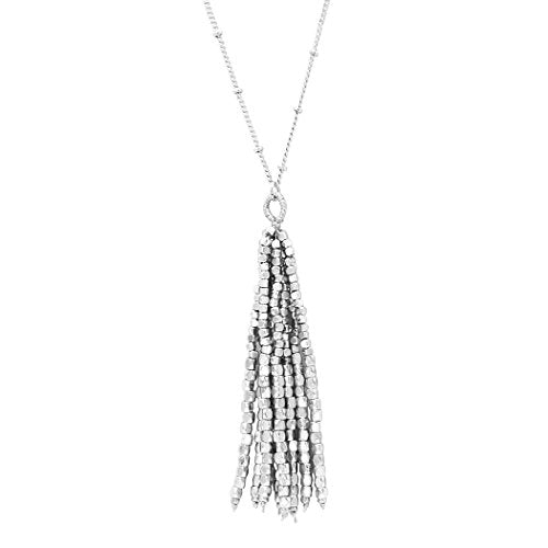 Shiny Bead Tassel Long Pendant Necklace (Silver Color)
