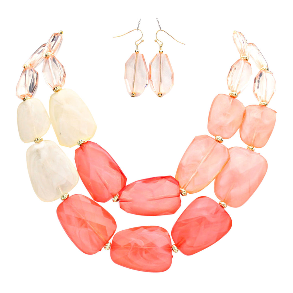 Coral Ombre Polished Resin Statement Necklace Earring Set