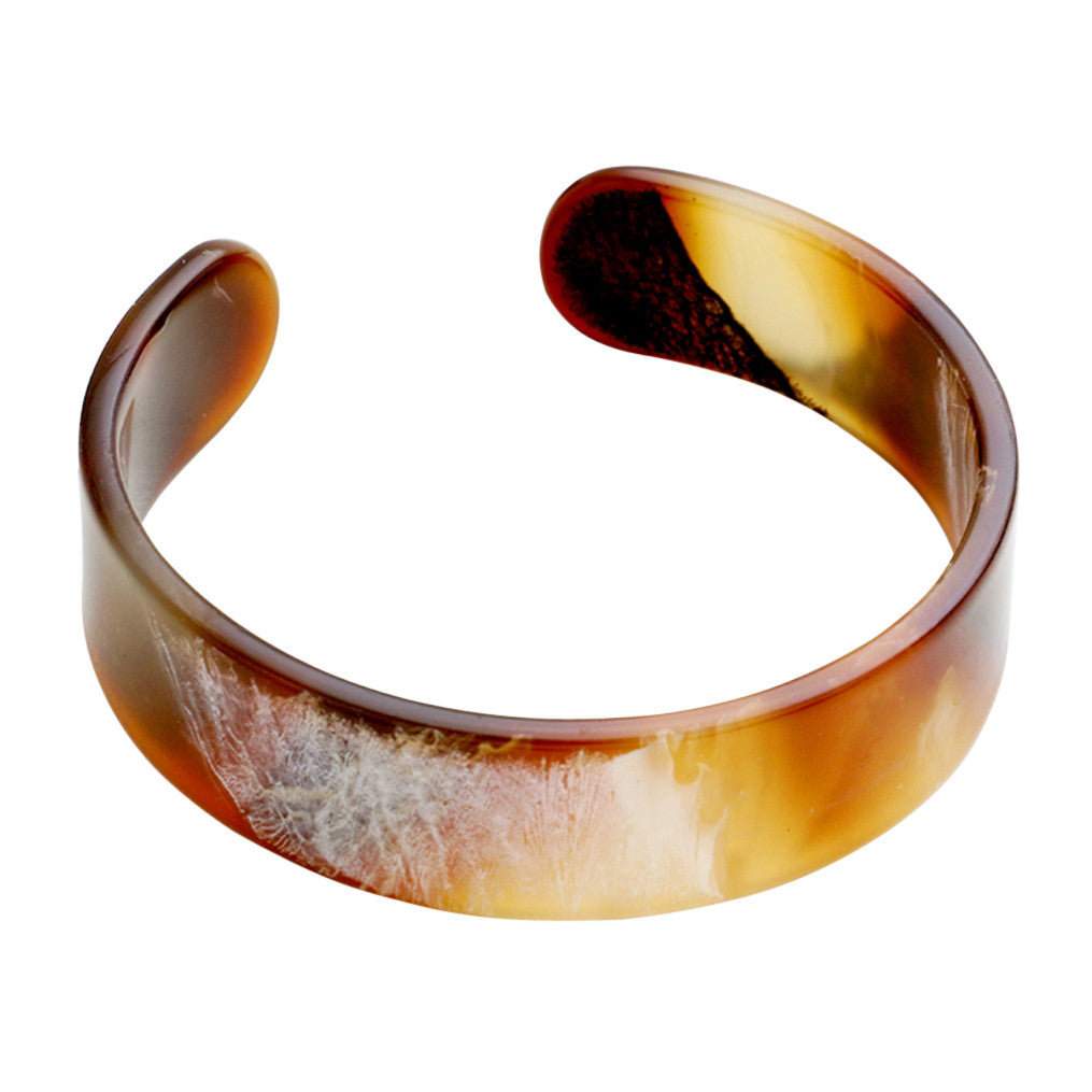 Patterned Celluloid Cuff Bracelet (Brown)