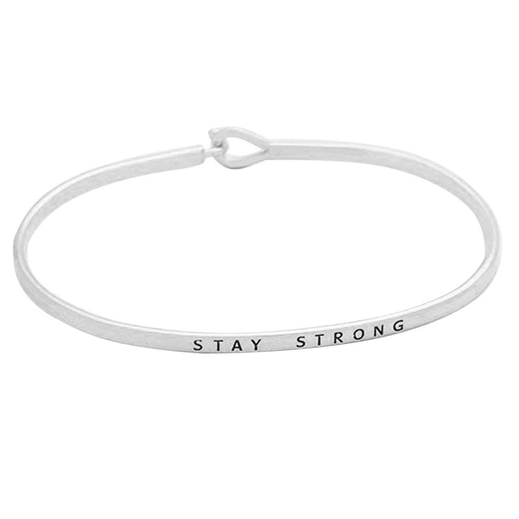 "Inspirational Thin Hook Bangle Bracelet ""Stay Strong"" (Rhodium)"