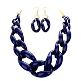Navy Blue Chunky Link Chain Statement Necklace Set
