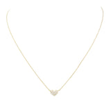 Dainty Petite Crystal Heart Pendant Necklace (14K Gold Dipped)
