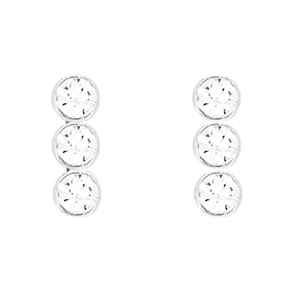 14k White Gold Dipped Cubic Zirconia Stud Earrings Triple Circle Drop