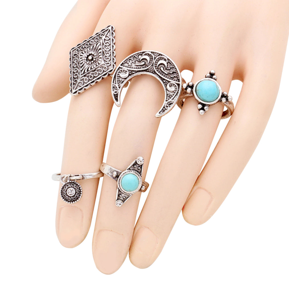 Turquoise and Burnished Silver Stacking Ring Set