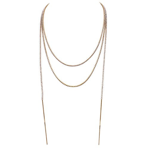 "72"" Long Rhinestone Strand Wrap Necklace (Gold Tone)"