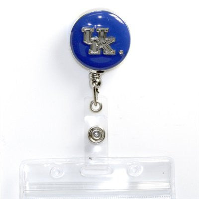 University of Kentucky Uk Retractable Employee Id Badge Holder Blue and Silver Tone