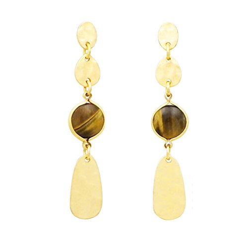 Brown Stone Gold Color Tiered Dangle Post Earring