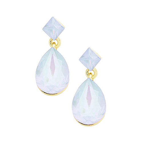 Opalescent Glass Crystal Square Teardrop Dangle Earrings (White)