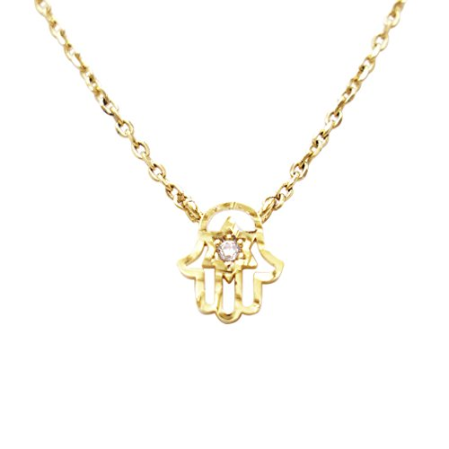 "Charm Pendant Necklace ""Evil Eye Hamsa Hand"" (14K Gold Dipped)"