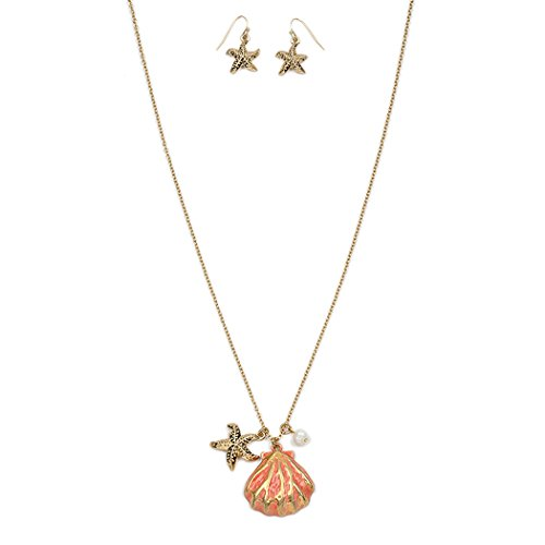 "Women's Starfish and Sea Shell ""Beach Babe""Necklace and Earring Gold Tone and Coral Color Fashion Jewelry Set , 30"" with 3"" Extender"