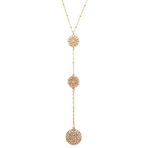 Filigree Flower Long Y Necklace (Gold Tone)