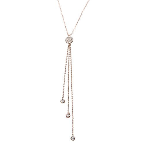 Cubic Zirconia Simple Strand Y Necklace (Rose Gold Color)