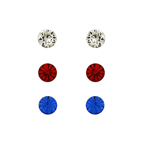 56ea51b56 ... 6mm Swarovski Crystal Stud Earrings Set of 3 (Red and Blue) ...