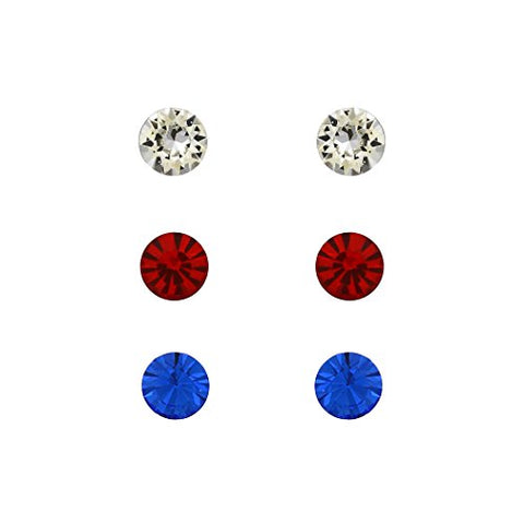 faa1fd7a5 6mm Swarovski Crystal Stud Earrings Set of 3 (Red and Blue)