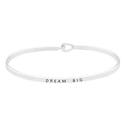 "Inspirational Thin Metal Bangle Bracelet ""Dream Big"""