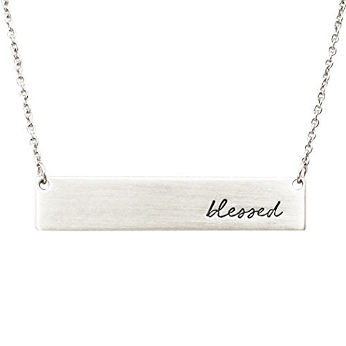 "Inspirational Bar Pendant Necklace ""Blessed"" (Silver Color)"