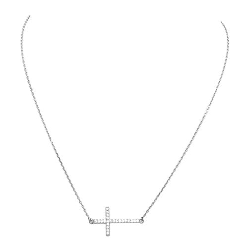 Cubic Zirconia Sideways Cross Religious Pendant Necklace (24K White Gold Dipped)