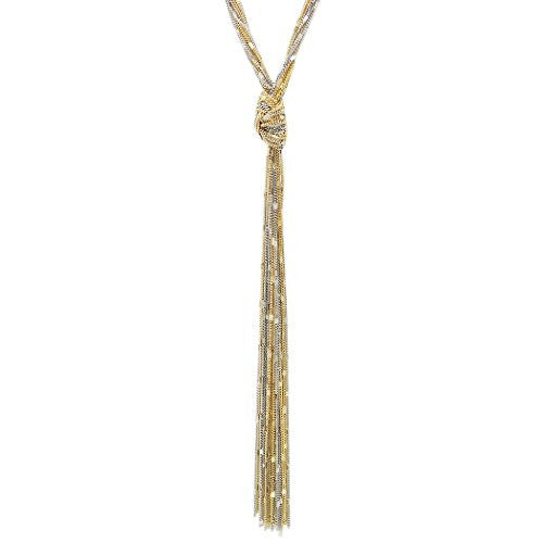 Two Tone Multi Strand Long Tassel Necklace