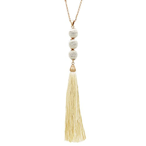 Thread Ball and Tassel Long Statement Necklace (Ivory)