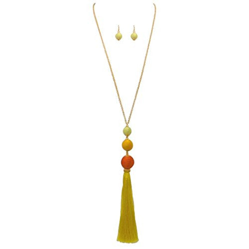 Ombre Thread Ball Tassel Statement Necklace Set (Sunshine Yellow)