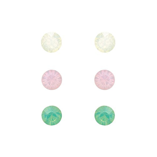 6mm Swarovski Crystal Stud Earrings Set of 3 (White, Pink, Aqua)